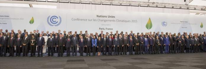 Secretary-General Ban Ki-moon at the Family Photo of Leaders at COP21