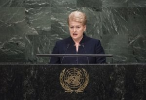 "Shown here is Dalia Grybauskaitė, President of the Republic of Lithuania, addressing the issue of ""violent extremism"" during the UN general debate earlier in the year, marking the 70th anniversary of the founding of the United Nations. Whether in Paris, New York, or any other city, nowadays, security has taken on added importance. UN Photo/C"