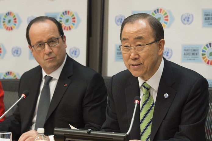 Shown here is UN Secretary-General Ban Ki-moon (right) speaking to the media with Francois Hollande, President of France, following the Signing Ceremony for the Paris Agreement on Climate Change. UN Photo/Eskinder Debebe.