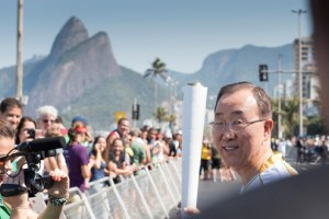 Secretary-General Ban Ki-moon took part in the Olympic torch relay ahead of the opening ceremony of the 2016 Summer Olympics in Rio de Janeiro, Brazil. UN Photo/ Mark Garten.
