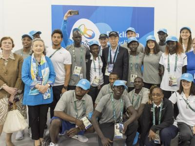 UN Secretary-General Ban Ki-moon and his wife, Yoo Soon-taek, met with members of the first ever Refugee Olympic Athletes team in the Olympic Village in Rio de Janeiro, Brazil. UN Photo/Mark Garten.