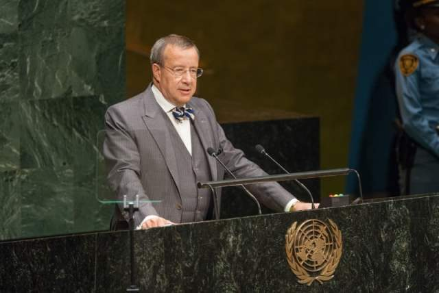 Pictured is the President of the Republic of Estonia, Toomas Hendrik Ilves. addressing the opening of the high level plenary meeting of the General Assembly known as the World Conference of Indigenous Peoples which focused attention on the Finno-Ugric peoples. Biographical information and photos of President Ilves during the Restoration of Independence was highlighted at this exhibit. UN Photo/ Cia Pak.