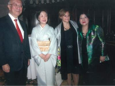 Shown here is H.E. Ambassador Koro Bessho of the Permanent Mission of Japan to the United Nations in New York, together with his wife, UN Under-Secretary General for Communications and Special Events, Cristina Gallach, and Yukako Tarumi, Director, The Tarumi Violin Children's Foundation For The Arts.
