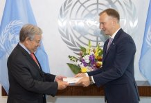 Shown here is Andrejs Pildegovics (right), the newly appointed Permanent Representative of the Republic of Latvia to the United Nations in New York, presenting his credentials to UN Secretary- General Antonio Guterres. UN Photo/ Eskinder Debebe.