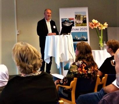 Esko Taanila from FLAG ESKO presenting the project to an interested audience at Östersjöfiske 2020 at Simrishamn