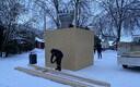 ФОТО: на месте памятника Яаку Йоале в Вильянди временно установили ящик