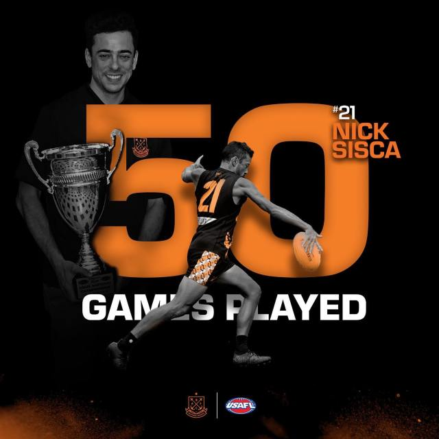 Poster celebrating #21 Nick Sisca on his 50th game with the Dockers