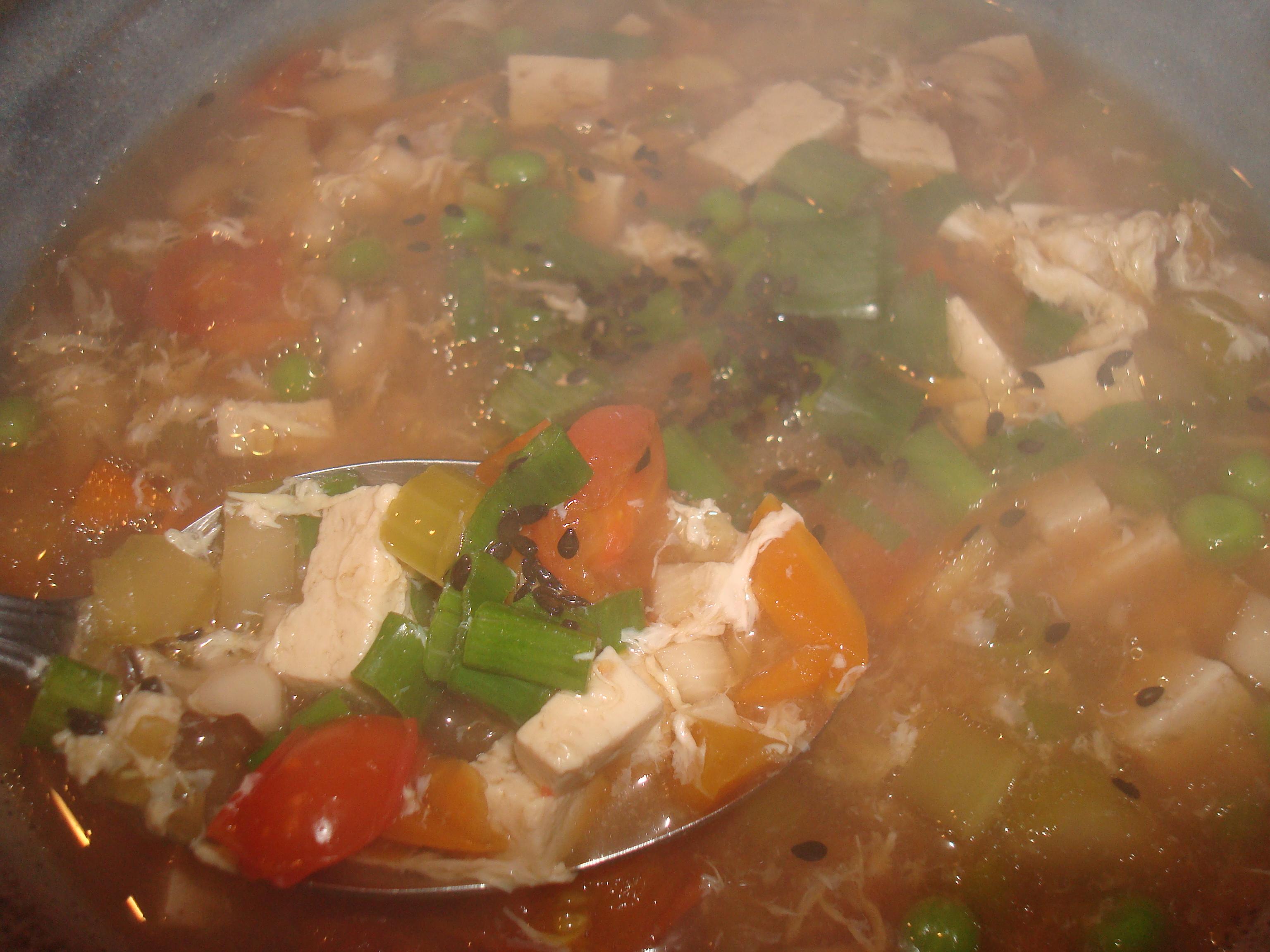 Sesame-Eggdrop (Veggie) Soup by Mollie Katzen
