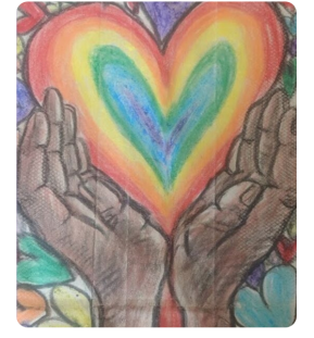 floating hands holding a rainbow heart