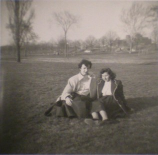 Margaret Silk-Schaefer and Barbara Duffy, Catholic High School friends, reclining in Patterson Park, c. 1955