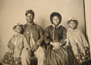 Armbrotype portrait likely of a soldier in the U.S. Maryland Colored Troops and family. Courtesy Library of Congress, LC-DIG-ppmsca-26454.