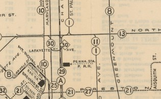 1940s: Streetcar map of Central Baltimore. Image courtesy JHU, Sheridan Libraries.
