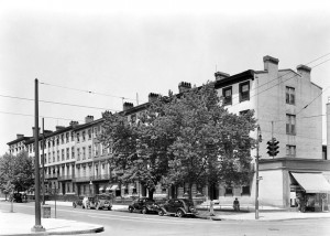 Photograph of Waverly Terrace by E.H. Pickering, July 1936. Courtesy Library of Congress, HABS MD,4-BALT,85--1.