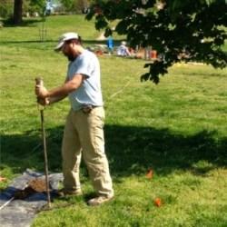 Greg Katz using an auger