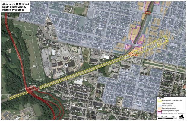 Alternative 11 Option A, South Portal Map