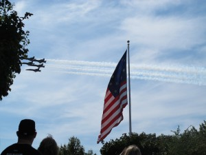 The navy stunt planes, the Blue Angels, pictured from the Smith and Armistead monuments on Federal Hill during the Star-Spangled Spectacular in September 2014
