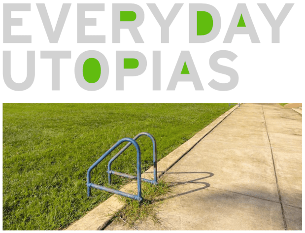 "The words ""Everyday Utopias"" above a photo of the ladder at the edge of the former Pool No. 2 (now filled in and covered with grass)"