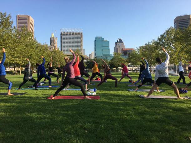 Free fitness class at the Inner Harbor through Waterfront Wellness