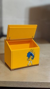 Small saltbox with lid open and Morton Salt Girl