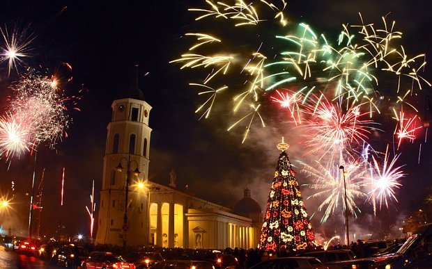 Celebrations in Vilnius for New Year are made all the better by the Christmas decorations around the city Photo: Getty