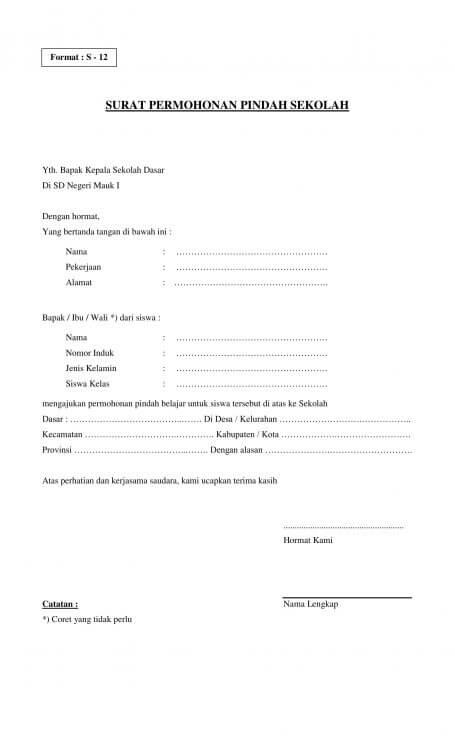 contoh surat permohonan pindah sekolah