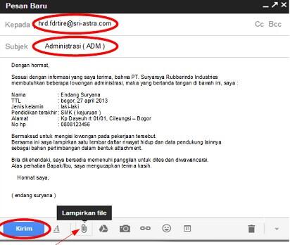 contoh surat lamaran kerja melalui email