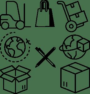 shipping icons, box, world