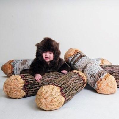 Wood Log Bolster Pillows