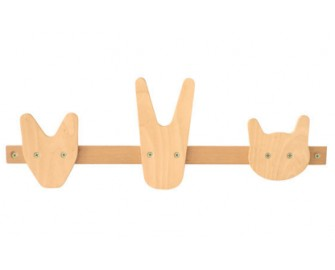 Shelf wooden animal hooks