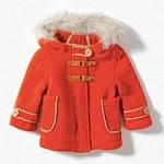 Red winter coat with fur hood Zara Kids