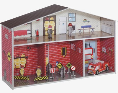 Habitat cardboard fire station and doll's house