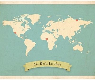 My Roots Lie Here World Map by Children Inspire Design