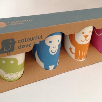 Colourful Dove china beakers