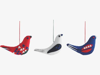 Habitat felt bird ornaments