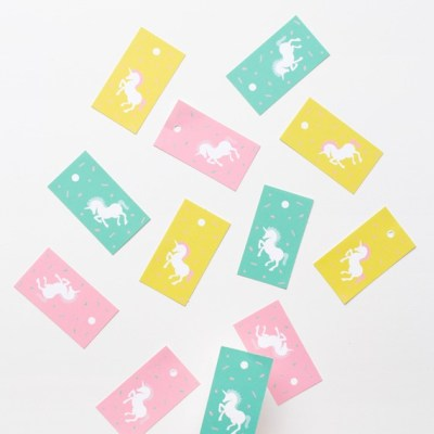 Oh Happy Day free printable unicorn gift tags