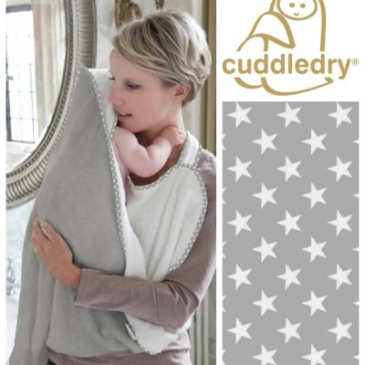 New grey stars baby apron bath towel from Cuddledry