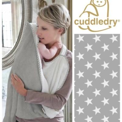 New grey stars baby apron bath towel from Cuddledry