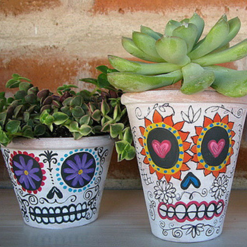 Day of the Dead plant pots