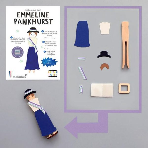 Emmeline Pankhurst peg doll kit, £2.75, Cotton Twist x Thea Chops Books.