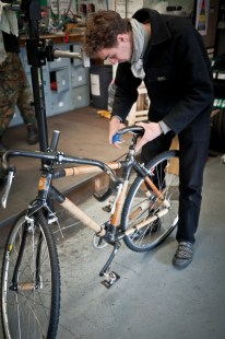 Huw puts the finishing touches on the seat clamp