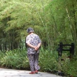 Bambus und ein Mann im Schlafanzug