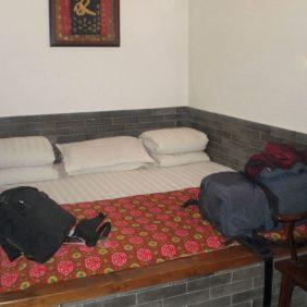 Mein Rucksack Auf einem traditionellen Kang in Pingyao 2009