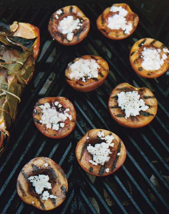 Grilled nectarines with feta recipe