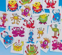Monster Temporary Tattoos - Great Non-Food Halloween Treat