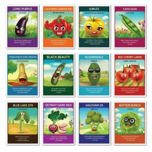 Kid-friendly vegetable seed packets