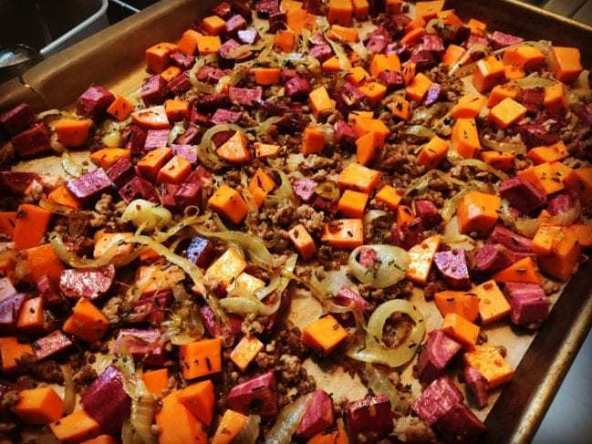 sweet potato hash with onion and pork
