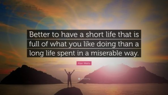 """""""Better to have a short life that is full of what you like doing, than a long life spent in a miserable way."""" - Alan Watts"""