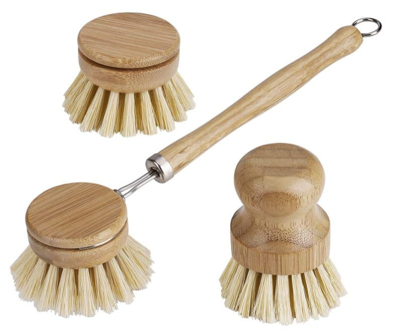 Brosse à vaisselle en bambou rechargeable