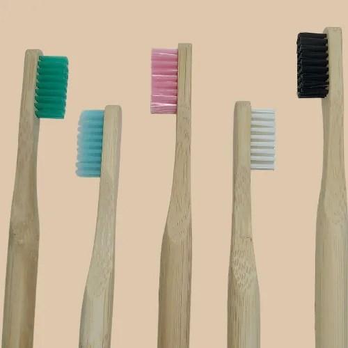 testine spazzolino da denti in bambù rotondo