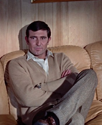 George Lazenby as James Bond on Christmas Eve in On Her Majesty's Secret Service (1969)